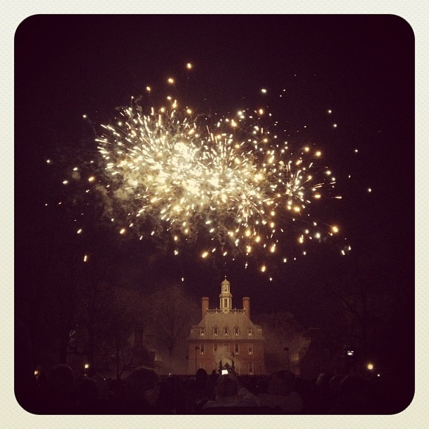 Fireworks over the Governor's Palace at Colonial Williamsburg's Grand Illumination.