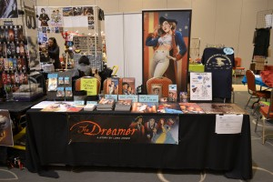 Lora Innes's Dreamer table at Anime Boston.