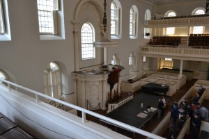 view of the pulpit from the balcony at old south meeting house