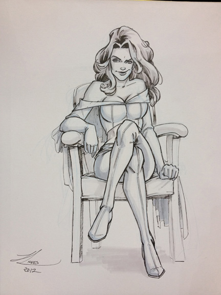 Emma Frost from the X-Men commissioned sketch.