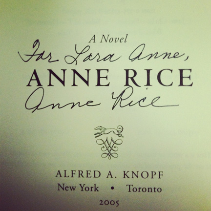 Anne Rice's signature in my book.