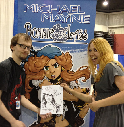 michael maybe gives lora innes a fan art gift