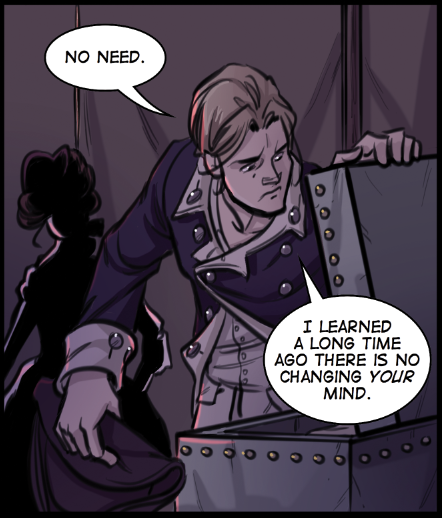 Alan is irritable with Bea in The Dreamer, a historical fiction comic about the American Revolutionary War.