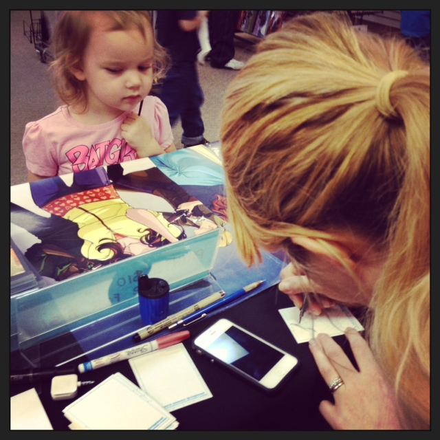 This little one waits for her Smurfette Sketch Card.