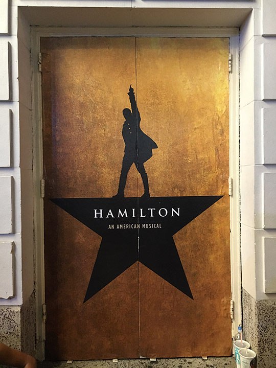 After dinner we headed back to the theater and the stage door. It was surreal seeing the theater doors all decked out in Hamilswag just like I\u0027ve seen in ... & The Hamiltour Part 1: The Stage Door \u2013 The Dreamer